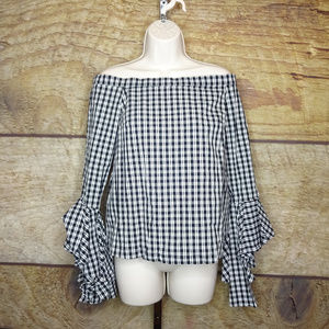 1. State Small Off The Shoulder Gingham Top D11